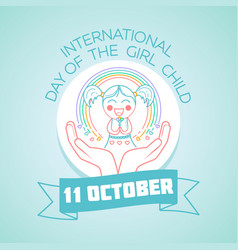 October international day of the girl child vector