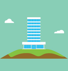 office building flat isolated on top of hill vector image