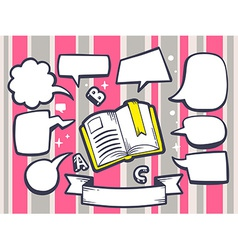 Open book with speech comics bubbles on p vector