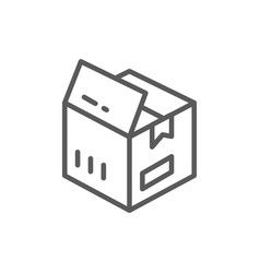 open box parcel delivery line icon vector image