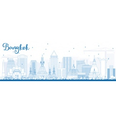 Outline Bangkok Skyline with Blue Landmarks vector