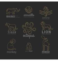Outline linear animals logos set vector image