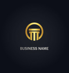 Pilar building gold logo vector