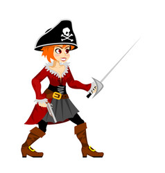 pirate girl costume masquerade teen party female vector image