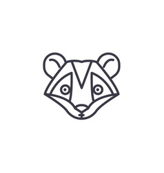 raccoon head line icon sign vector image