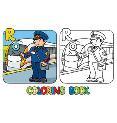 railroader coloring book alphabet r profession vector image