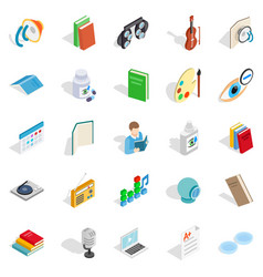 Reading icons set isometric style vector