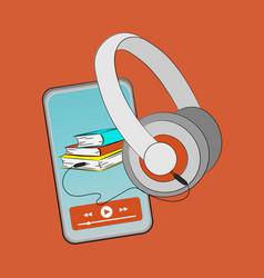 Reading online audiobook smart phone internet vect vector