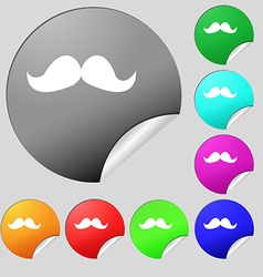 Retro moustache icon sign Set of eight multi vector