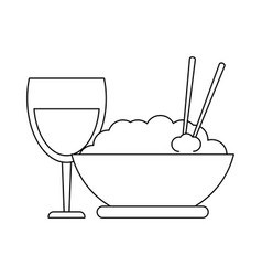rice bowl and wine cup black and white vector image