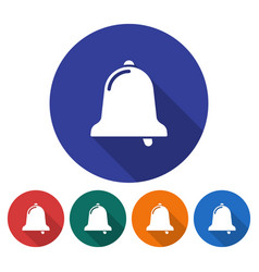 Round icon of bell flat style with long shadow vector