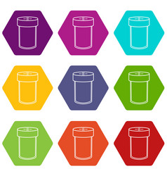 Salt shaker icons set 9 vector