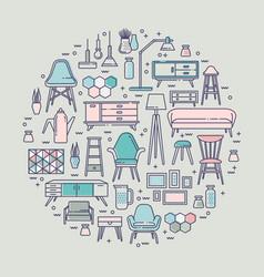 scandinavian furniture line style vector image
