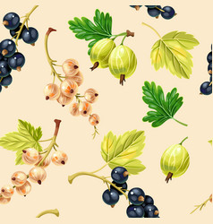 Seamless pattern black and white currant berries vector
