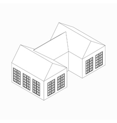 Semi-detached house icon isometric 3d style vector