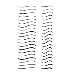 set hand-drawn wavy lines vector image