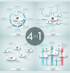 Set of 4 infographic design templates with white vector