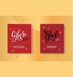 set of black friday and cyber monday sale banners vector image