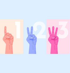 Set of counting one two three hand sign three vector