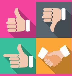 set of hands with fingers on different backgrounds vector image