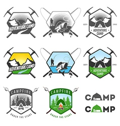 set vintage camping labels and badges vector image