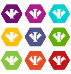 sewerage icon set color hexahedron vector image