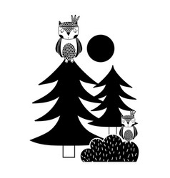 silhouette ethnic owls animals with pine trees and vector image