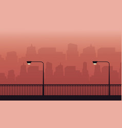 Silhouette of fence and lamp on the street scenery vector