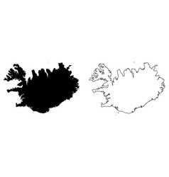 Simple only sharp corners map iceland drawing vector