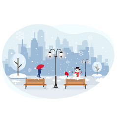 Snowfall in city vector