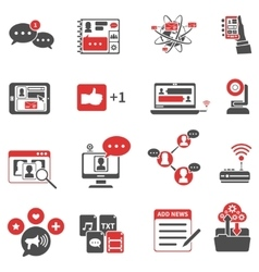 Social Network Red Black Icons Set vector