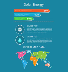 Solar energy world map data text sample poster vector