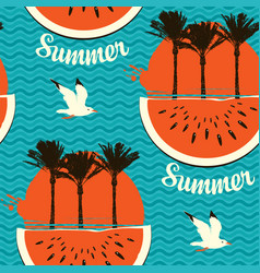 summer seamless pattern with palms and watermelons vector image