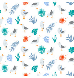 summer seamless pattern with seagulls in cute vector image