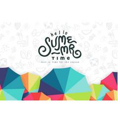 summer text banner design with beach umbrella vector image