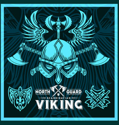 T-shirt print with viking emblems in vintage style vector
