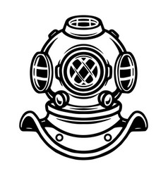 Tattoo concept old diving helmet vector