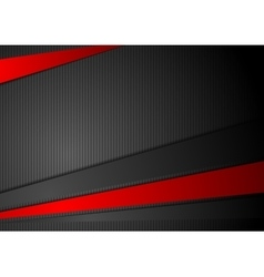 Tech black background with contrast red stripes vector image