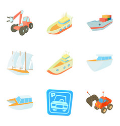 transport technology icons set cartoon style vector image