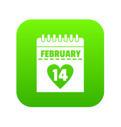 valentines day calendar icon digital green vector image