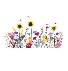 wild and honey meadow flowers scape nature vector image