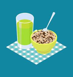 wild rice porridge and fruit juice breakfast vector image
