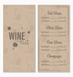 wine list menu card design template with glasses vector image