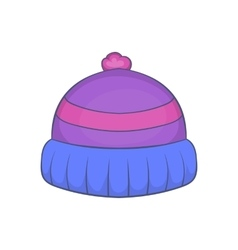 Winter knitted hat with pompon icon cartoon style vector image
