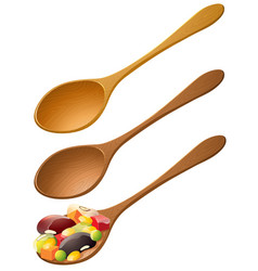Wooden spoons with mixed fruit vector