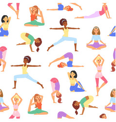 yoga seamless pattern beautiful girls body vector image