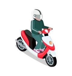 Biker in Helmet Driving Scooter vector image