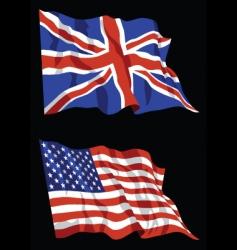 british american flags vector image