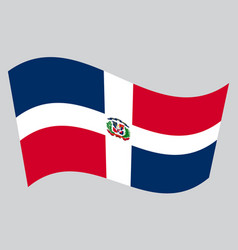 dominican republic flag waving on gray background vector image