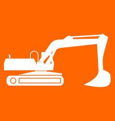 Excavator white icon vector